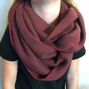 Red and grey striped infinity scarf
